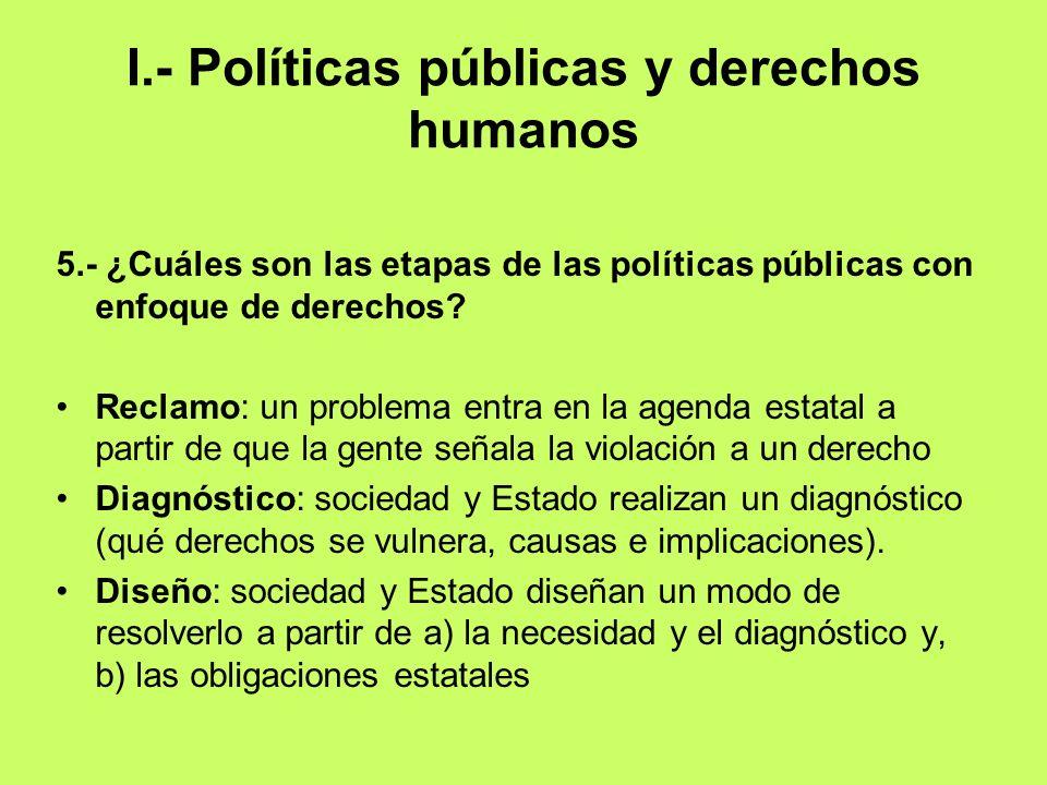 I.- Políticas públicas y derechos humanos 5.- ¿Cuáles son las etapas de las políticas públicas con enfoque de derechos? Reclamo: un problema entra en