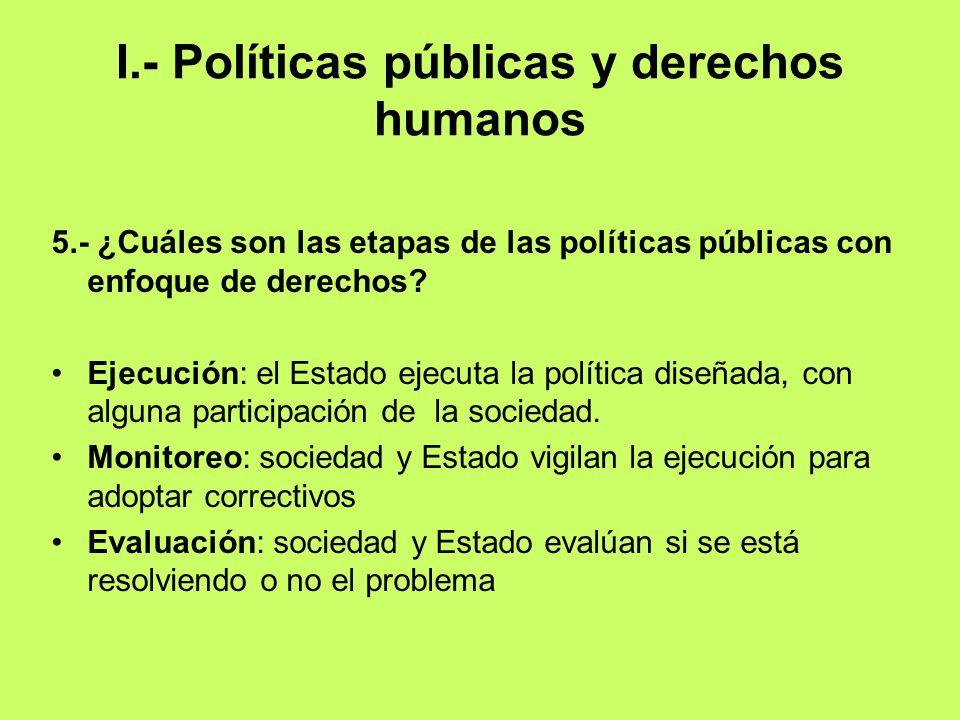 I.- Políticas públicas y derechos humanos 5.- ¿Cuáles son las etapas de las políticas públicas con enfoque de derechos? Ejecución: el Estado ejecuta l