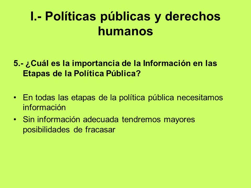 I.- Políticas públicas y derechos humanos 5.- ¿Cuál es la importancia de la Información en las Etapas de la Política Pública? En todas las etapas de l