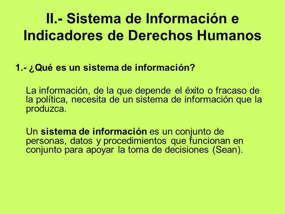II.- Sistema de Información e Indicadores de Derechos Humanos 1.- ¿Qué es un sistema de información? La información, de la que depende el éxito o frac