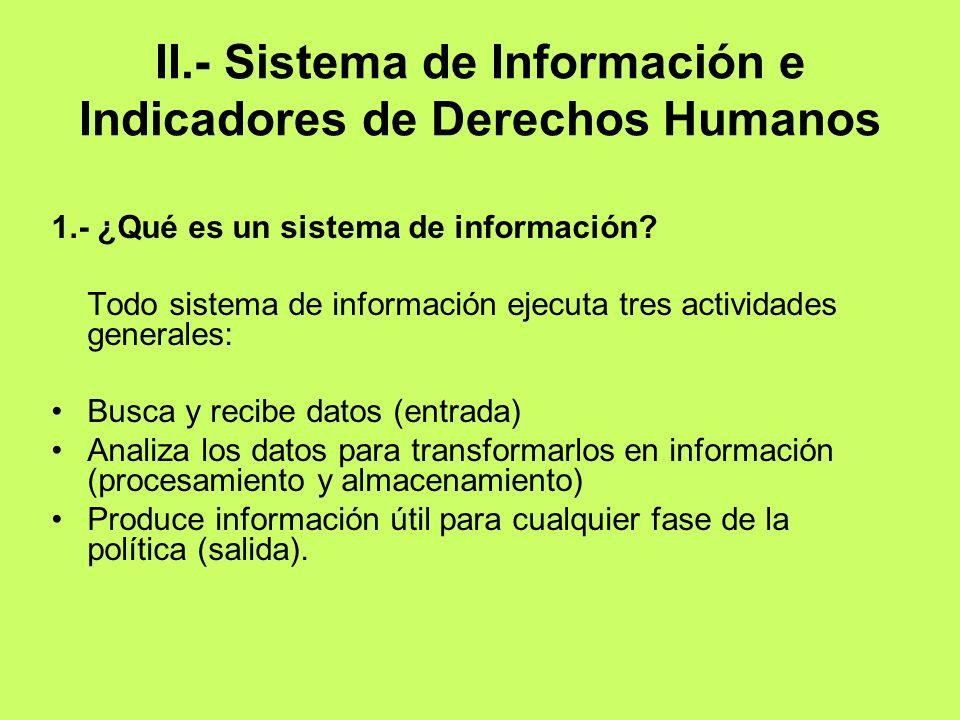 II.- Sistema de Información e Indicadores de Derechos Humanos 1.- ¿Qué es un sistema de información? Todo sistema de información ejecuta tres activida