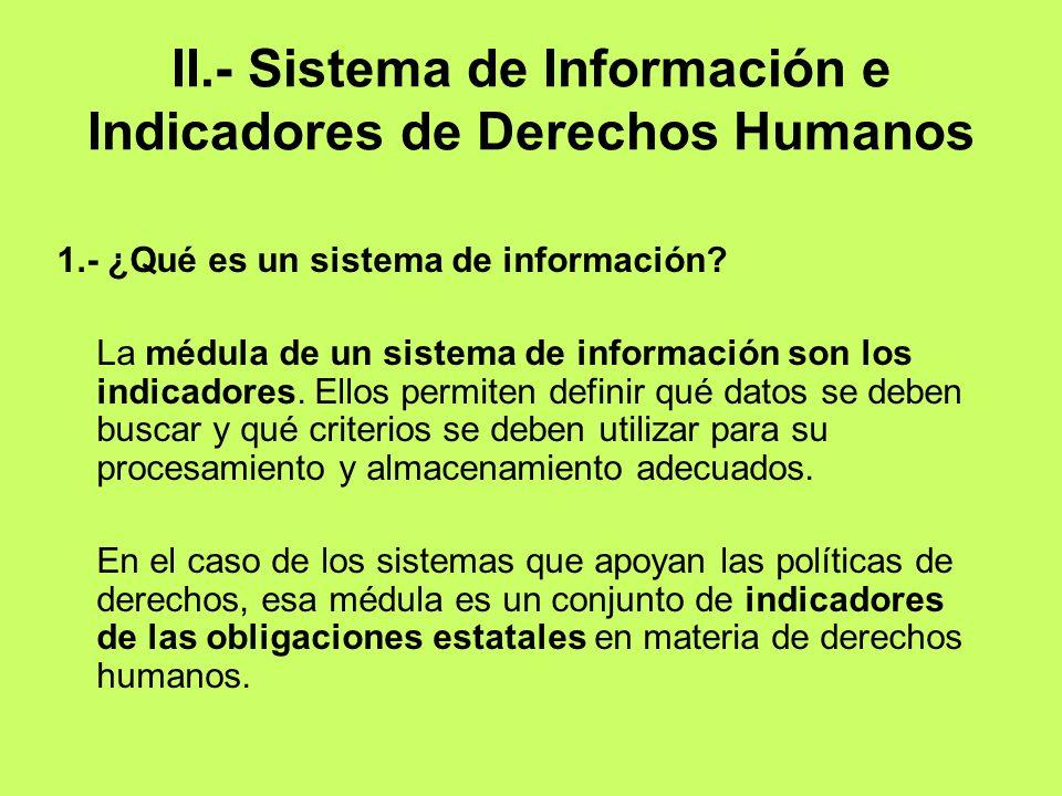 II.- Sistema de Información e Indicadores de Derechos Humanos 1.- ¿Qué es un sistema de información? La médula de un sistema de información son los in