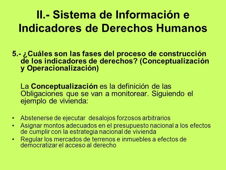 II.- Sistema de Información e Indicadores de Derechos Humanos 5.- ¿Cuáles son las fases del proceso de construcción de los indicadores de derechos? (C