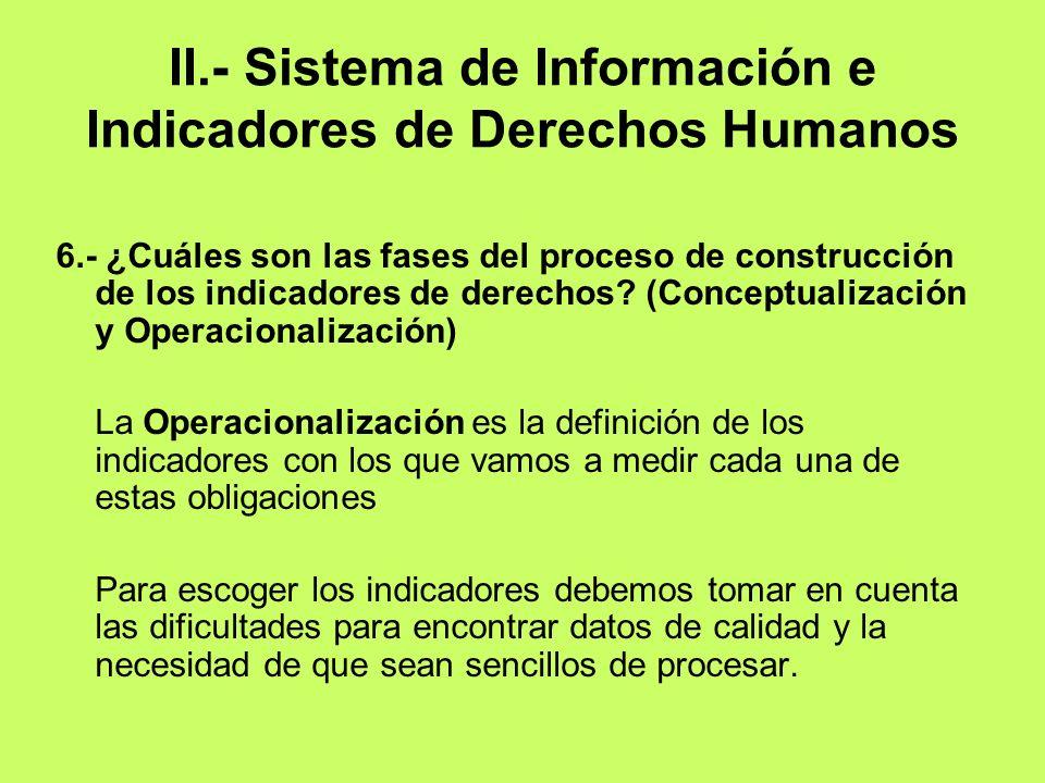 II.- Sistema de Información e Indicadores de Derechos Humanos 6.- ¿Cuáles son las fases del proceso de construcción de los indicadores de derechos? (C