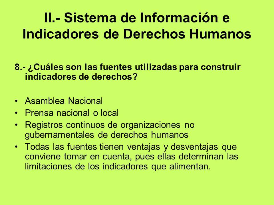II.- Sistema de Información e Indicadores de Derechos Humanos 8.- ¿Cuáles son las fuentes utilizadas para construir indicadores de derechos? Asamblea
