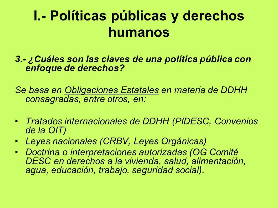 I.- Políticas públicas y derechos humanos 3.- ¿Cuáles son las claves de una política pública con enfoque de derechos? Se basa en Obligaciones Estatale