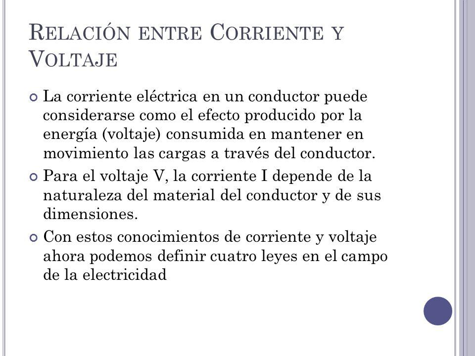 R ELACIÓN ENTRE C ORRIENTE Y V OLTAJE La corriente eléctrica en un conductor puede considerarse como el efecto producido por la energía (voltaje) consumida en mantener en movimiento las cargas a través del conductor.