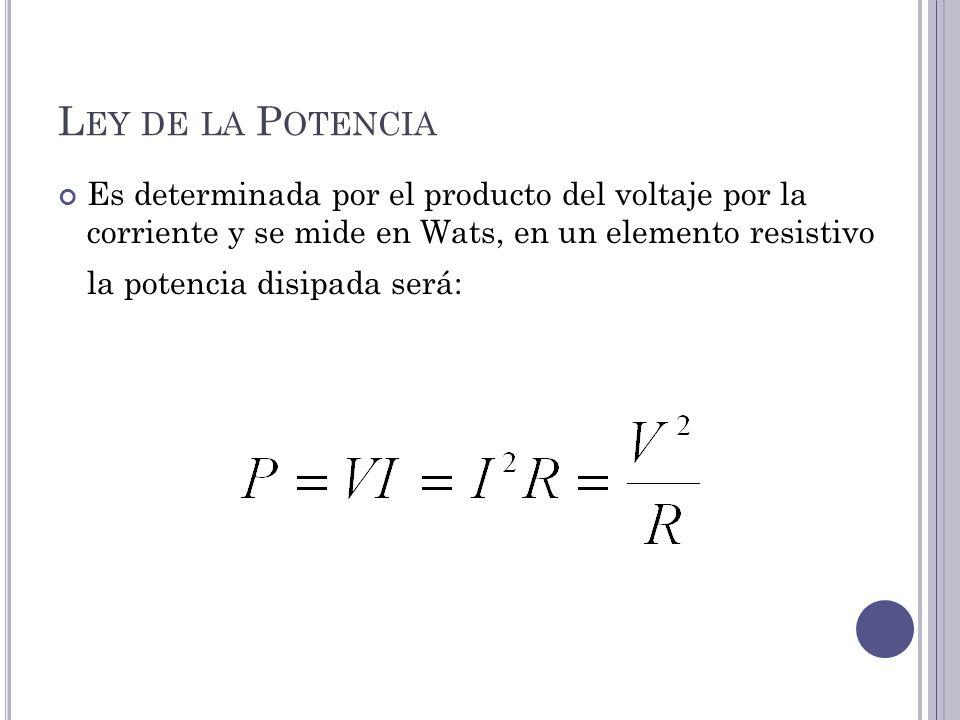 L EY DE LA P OTENCIA Es determinada por el producto del voltaje por la corriente y se mide en Wats, en un elemento resistivo la potencia disipada será: