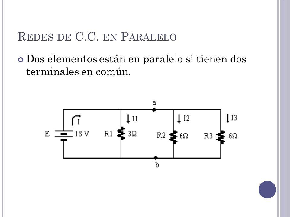 R EDES DE C.C. EN P ARALELO Dos elementos están en paralelo si tienen dos terminales en común.