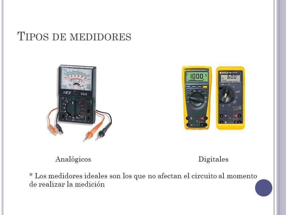 T IPOS DE MEDIDORES AnalógicosDigitales * Los medidores ideales son los que no afectan el circuito al momento de realizar la medición