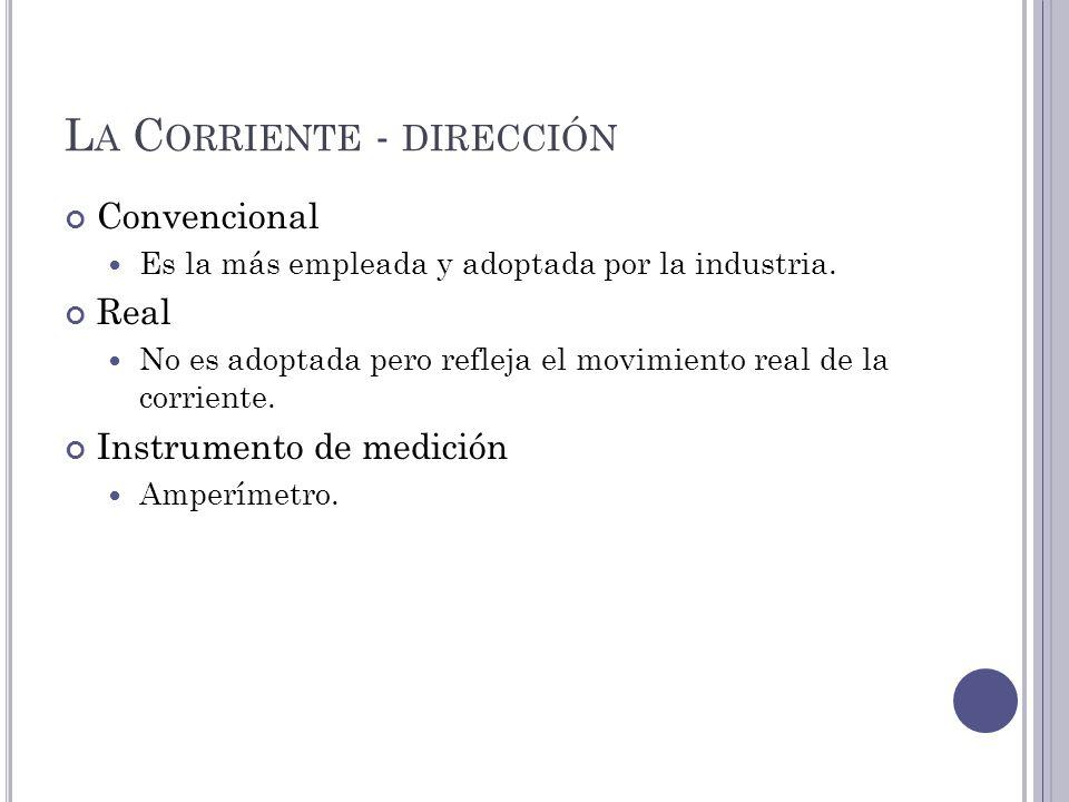 L A C ORRIENTE - DIRECCIÓN Convencional Es la más empleada y adoptada por la industria.