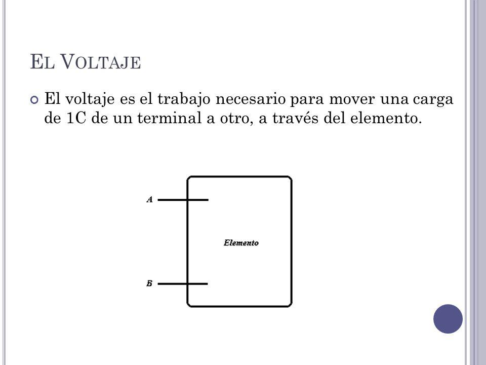 E L V OLTAJE El voltaje es el trabajo necesario para mover una carga de 1C de un terminal a otro, a través del elemento.