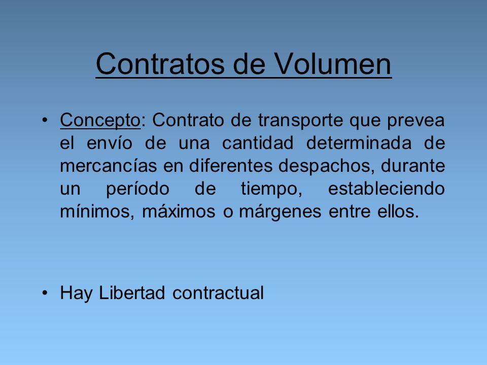 Contratos de Volumen Concepto: Contrato de transporte que prevea el envío de una cantidad determinada de mercancías en diferentes despachos, durante un período de tiempo, estableciendo mínimos, máximos o márgenes entre ellos.