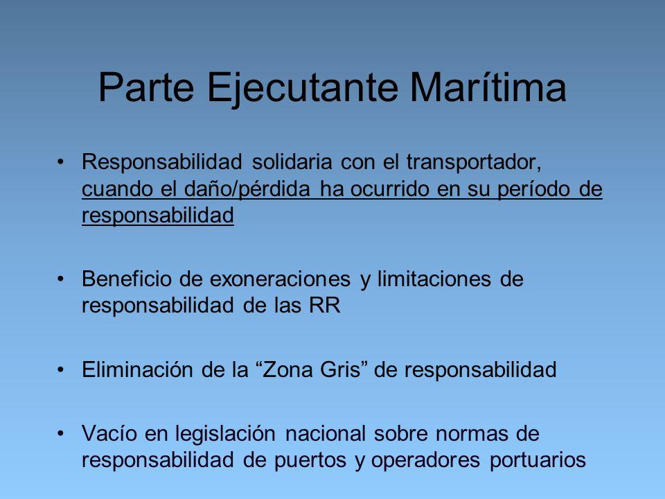 Parte Ejecutante Marítima Responsabilidad solidaria con el transportador, cuando el daño/pérdida ha ocurrido en su período de responsabilidad Beneficio de exoneraciones y limitaciones de responsabilidad de las RR Eliminación de la Zona Gris de responsabilidad Vacío en legislación nacional sobre normas de responsabilidad de puertos y operadores portuarios