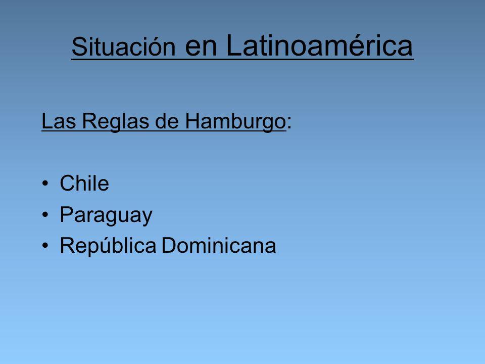 Situación en Latinoamérica Las Reglas de Hamburgo: Chile Paraguay República Dominicana
