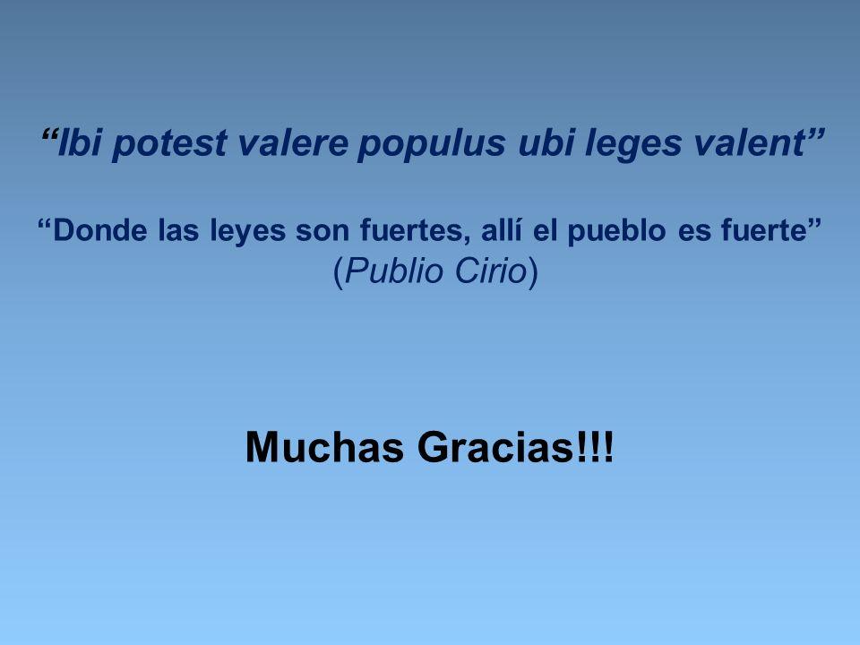 Ibi potest valere populus ubi leges valent Donde las leyes son fuertes, allí el pueblo es fuerte (Publio Cirio) Muchas Gracias!!!