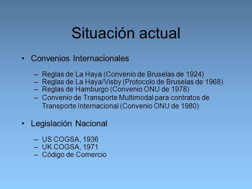 Situación actual Convenios Internacionales –Reglas de La Haya (Convenio de Bruselas de 1924) –Reglas de La Haya/Visby (Protocolo de Bruselas de 1968) –Reglas de Hamburgo (Convenio ONU de 1978) –Convenio de Transporte Multimodal para contratos de Transporte Internacional (Convenio ONU de 1980) Legislación Nacional –US COGSA, 1936 –UK COGSA, 1971 –Código de Comercio