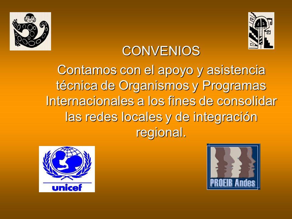 CONVENIOS Contamos con el apoyo y asistencia técnica de Organismos y Programas Internacionales a los fines de consolidar las redes locales y de integración regional.