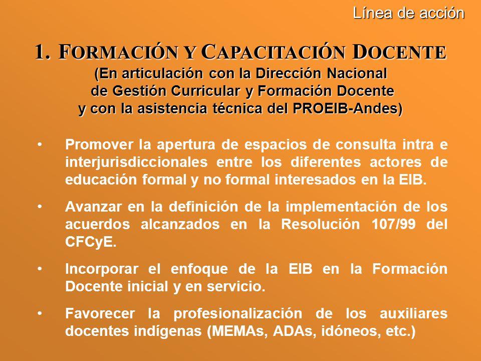 Promover la apertura de espacios de consulta intra e interjurisdiccionales entre los diferentes actores de educación formal y no formal interesados en la EIB.