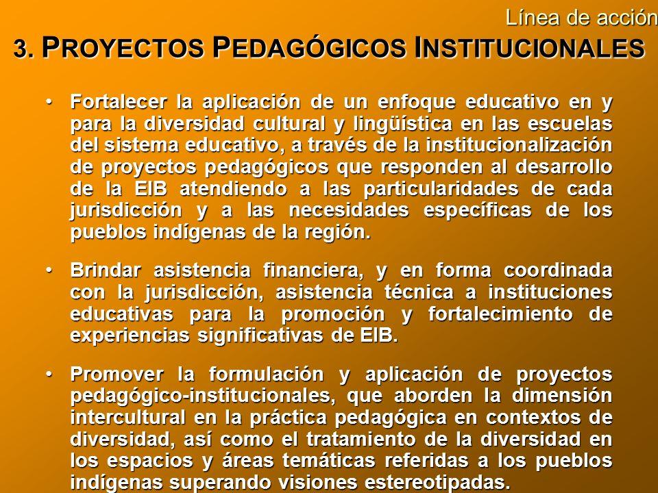 3. P ROYECTOS P EDAGÓGICOS I NSTITUCIONALES Fortalecer la aplicación de un enfoque educativo en y para la diversidad cultural y lingüística en las esc