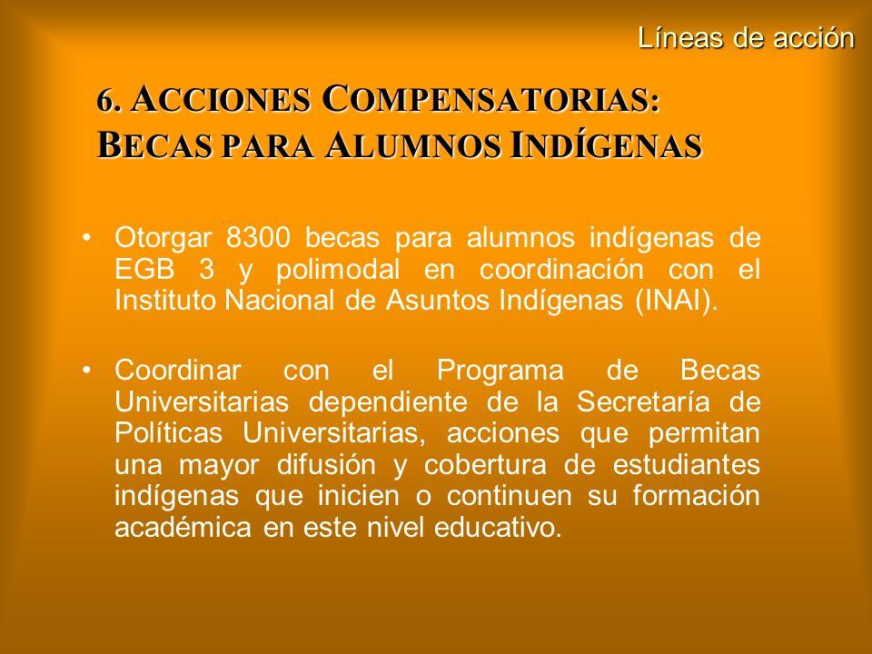 6. A CCIONES C OMPENSATORIAS: B ECAS PARA A LUMNOS I NDÍGENAS Otorgar 8300 becas para alumnos indígenas de EGB 3 y polimodal en coordinación con el In