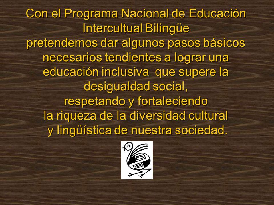Con el Programa Nacional de Educación Intercultual Bilingüe pretendemos dar algunos pasos básicos necesarios tendientes a lograr una educación inclusiva que supere la desigualdad social, respetando y fortaleciendo la riqueza de la diversidad cultural y lingüística de nuestra sociedad.