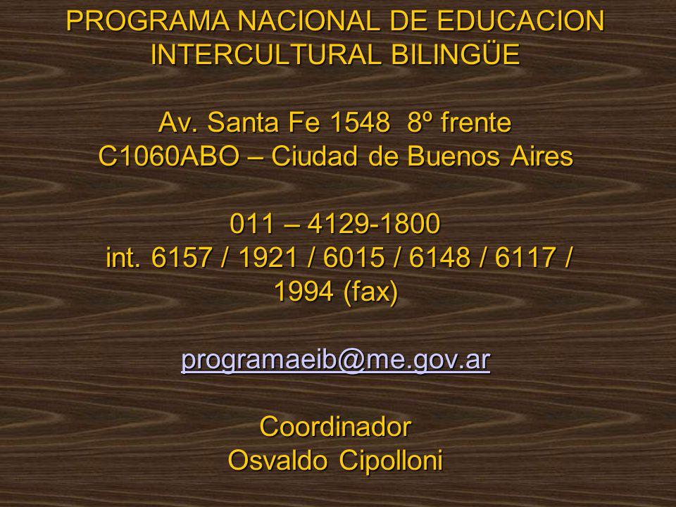 PROGRAMA NACIONAL DE EDUCACION INTERCULTURAL BILINGÜE Av.
