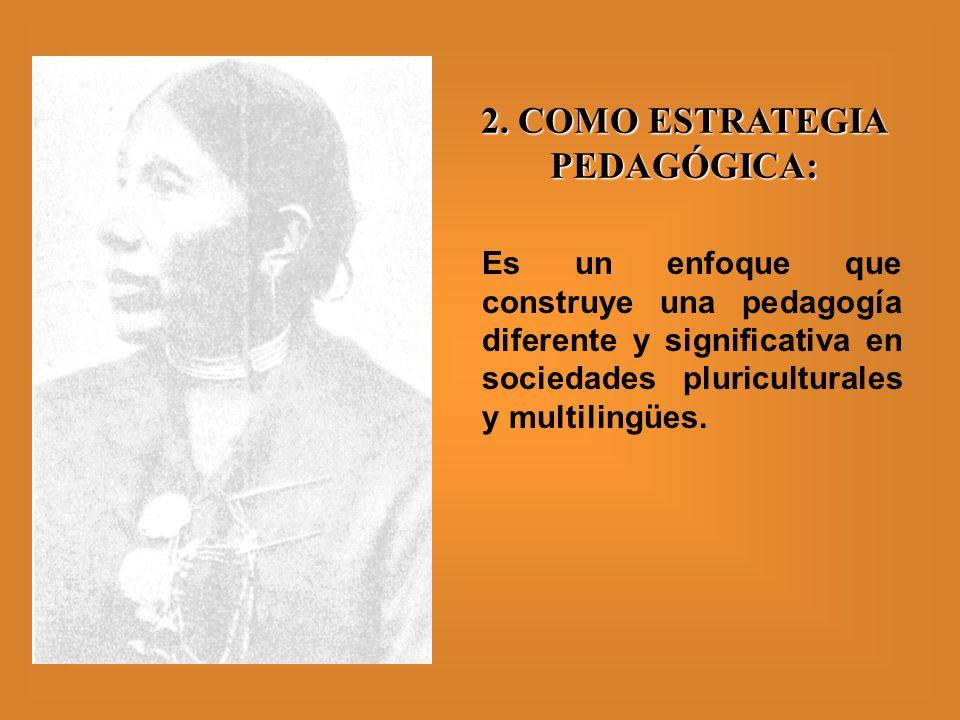 2. COMO ESTRATEGIA PEDAGÓGICA: Es un enfoque que construye una pedagogía diferente y significativa en sociedades pluriculturales y multilingües.