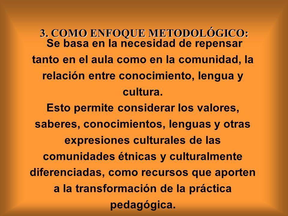 Se basa en la necesidad de repensar tanto en el aula como en la comunidad, la relación entre conocimiento, lengua y cultura.