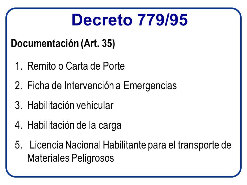 Decreto 779/95 1.Remito o Carta de Porte 2.Ficha de Intervención a Emergencias 3.Habilitación vehicular 4.Habilitación de la carga 5. Licencia Naciona