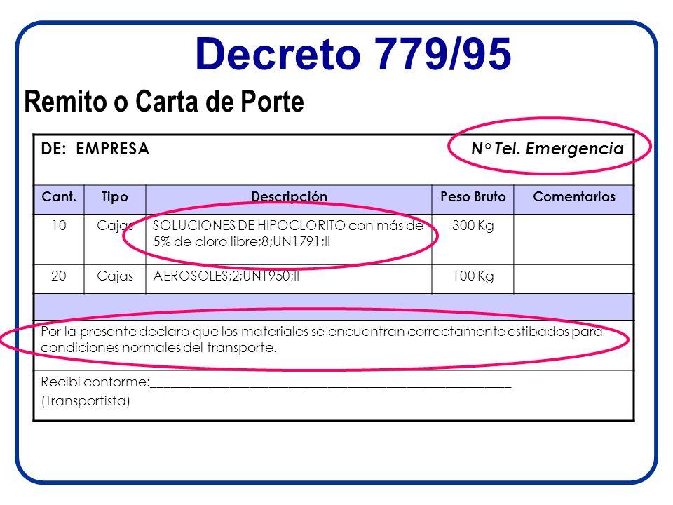 Decreto 779/95 Remito o Carta de Porte DE: EMPRESA N° Tel. Emergencia Cant.TipoDescripciónPeso BrutoComentarios 10CajasSOLUCIONES DE HIPOCLORITO con m