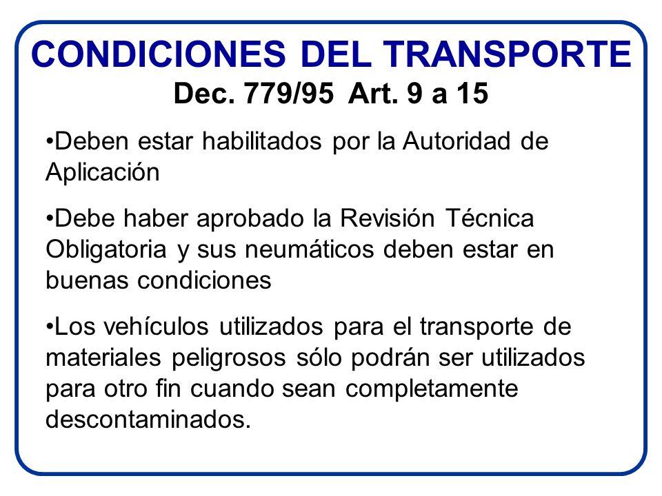 CONDICIONES DEL TRANSPORTE Dec. 779/95 Art. 9 a 15 Deben estar habilitados por la Autoridad de Aplicación Debe haber aprobado la Revisión Técnica Obli