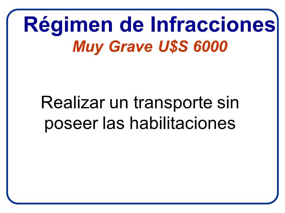 Régimen de Infracciones Muy Grave U$S 6000 Realizar un transporte sin poseer las habilitaciones