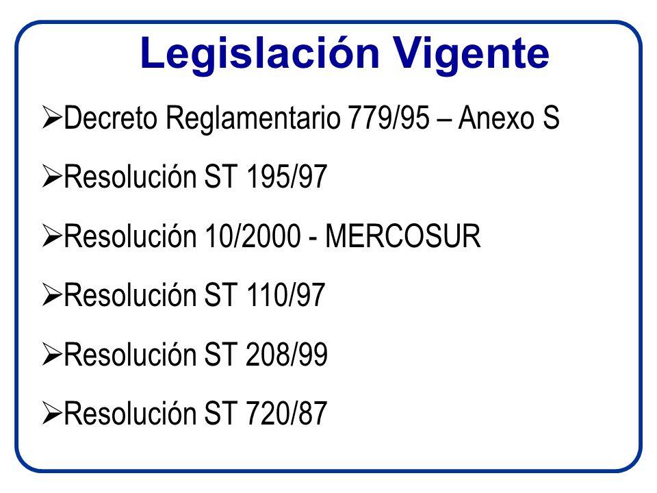 Legislación Vigente Decreto Reglamentario 779/95 – Anexo S Resolución ST 195/97 Resolución 10/2000 - MERCOSUR Resolución ST 110/97 Resolución ST 208/99 Resolución ST 720/87