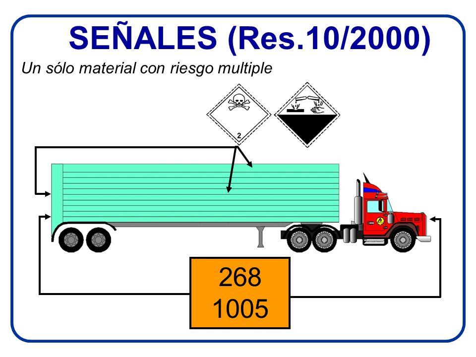 SEÑALES (Res.10/2000) 268 1005 Un sólo material con riesgo multiple