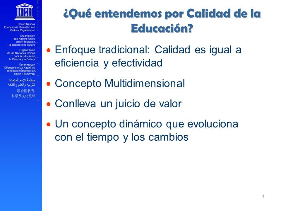______ 10 Enfoque tradicional: Calidad es igual a eficiencia y efectividad Concepto Multidimensional Conlleva un juicio de valor Un concepto dinámico