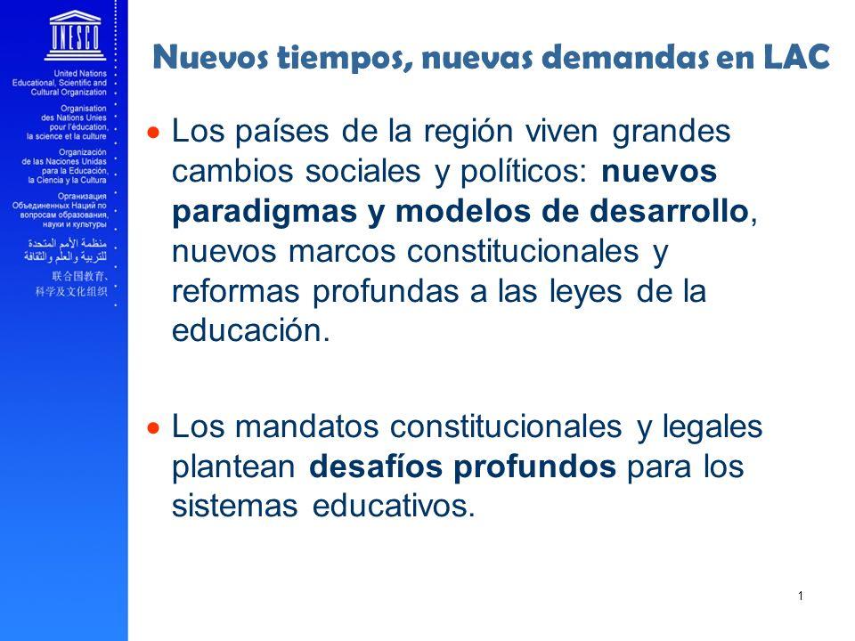 Nuevos tiempos, nuevas demandas en LAC Los países de la región viven grandes cambios sociales y políticos: nuevos paradigmas y modelos de desarrollo,