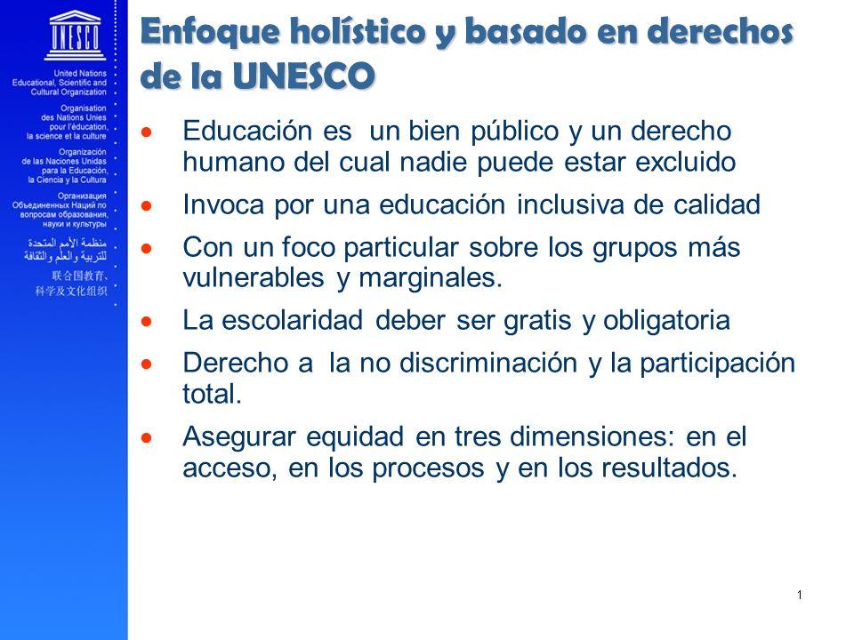 Educación es un bien público y un derecho humano del cual nadie puede estar excluido Invoca por una educación inclusiva de calidad Con un foco particu
