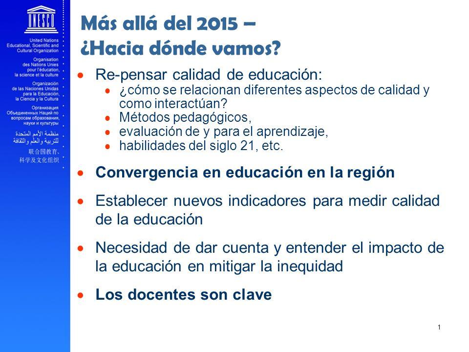 ______ 16 Más allá del 2015 – ¿Hacia dónde vamos? Re-pensar calidad de educación: ¿cómo se relacionan diferentes aspectos de calidad y como interactúa