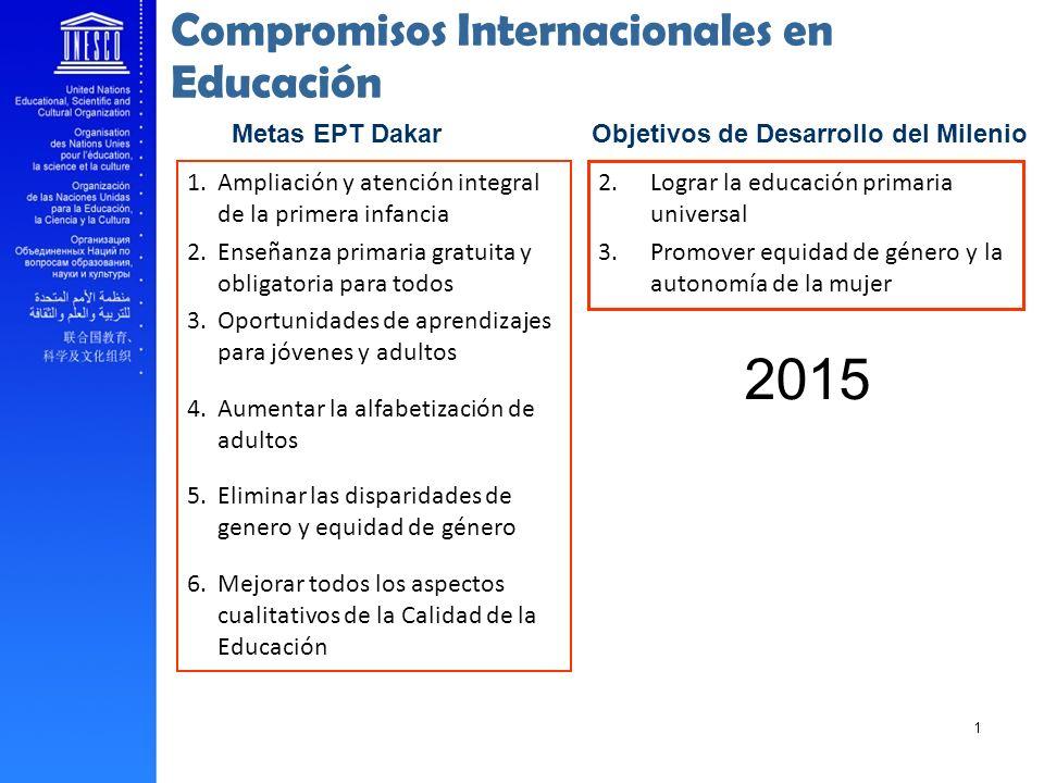 Compromisos Internacionales en Educación Objetivos de Desarrollo del Milenio 2.Lograr la educación primaria universal 3.Promover equidad de género y l