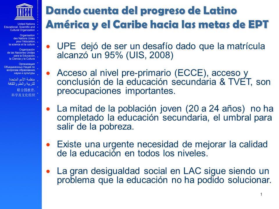 Dando cuenta del progreso de Latino América y el Caribe hacia las metas de EPT UPE dejó de ser un desafío dado que la matrícula alcanzó un 95% (UIS, 2