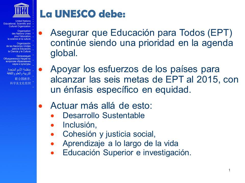 Asegurar que Educación para Todos (EPT) continúe siendo una prioridad en la agenda global. Apoyar los esfuerzos de los países para alcanzar las seis m