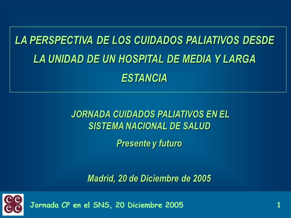 Jornada CP en el SNS, 20 Diciembre 20051 LA PERSPECTIVA DE LOS CUIDADOS PALIATIVOS DESDE LA UNIDAD DE UN HOSPITAL DE MEDIA Y LARGA ESTANCIA JORNADA CU
