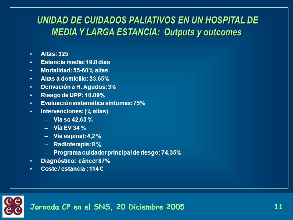 Jornada CP en el SNS, 20 Diciembre 200511 UNIDAD DE CUIDADOS PALIATIVOS EN UN HOSPITAL DE MEDIA Y LARGA ESTANCIA: Outputs y outcomes UNIDAD DE CUIDADO