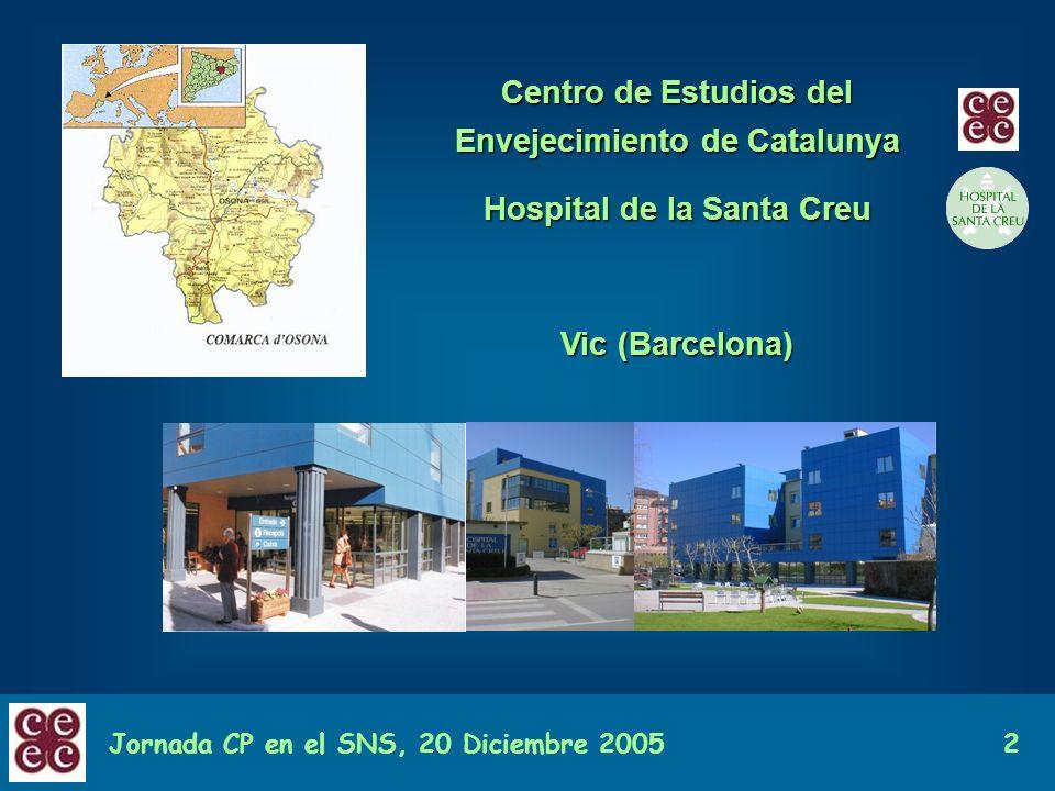 Jornada CP en el SNS, 20 Diciembre 20052 Centro de Estudios del Envejecimiento de Catalunya Hospital de la Santa Creu Vic (Barcelona)