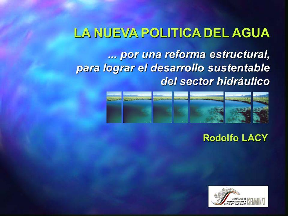 La nueva política del AGUA 80% del recurso explotado se usa en la agricultura, 12% en la industria y sólo 8% para servicios urbanos y domésticos México es un país de baja disponibilidad de agua y ésta se ubica y se usa en forma desigual