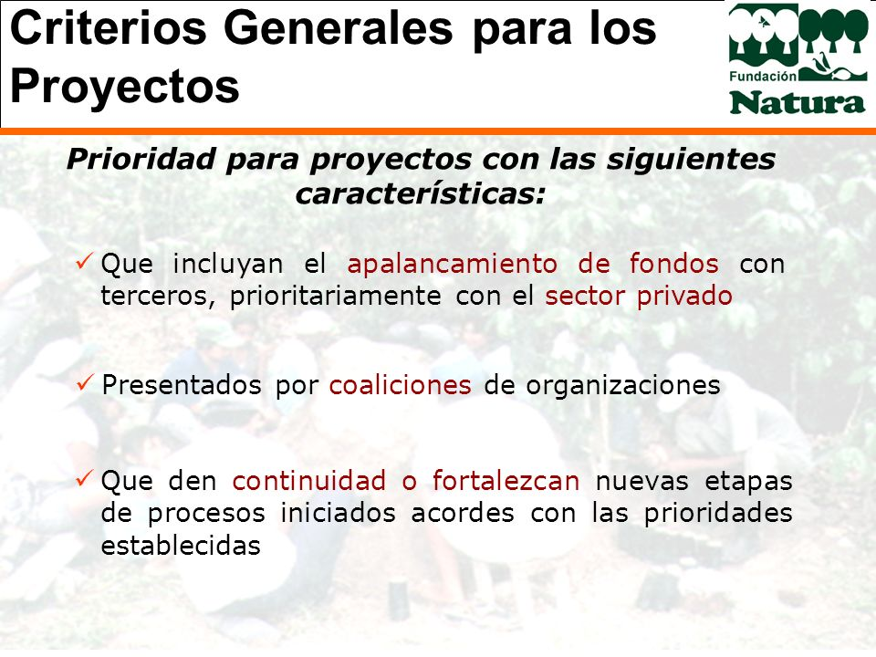 Criterios Generales para los Proyectos Prioridad para proyectos con las siguientes características: Que incluyan el apalancamiento de fondos con terce