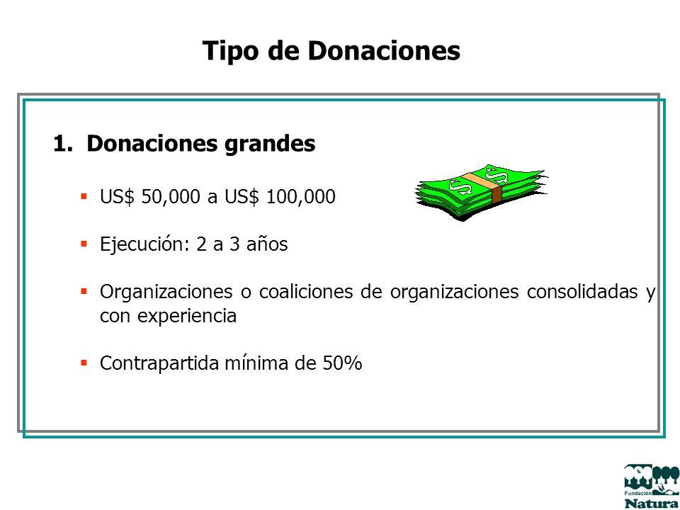 Tipo de Donaciones 1.Donaciones grandes US$ 50,000 a US$ 100,000 Ejecución: 2 a 3 años Organizaciones o coaliciones de organizaciones consolidadas y c