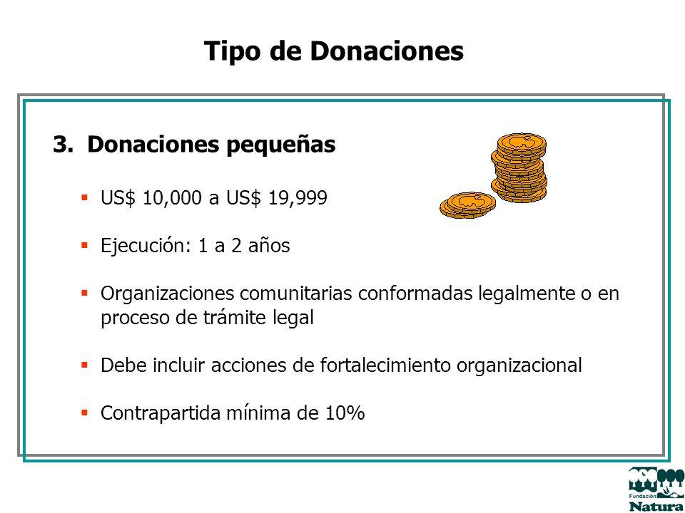 Tipo de Donaciones 3.Donaciones pequeñas US$ 10,000 a US$ 19,999 Ejecución: 1 a 2 años Organizaciones comunitarias conformadas legalmente o en proceso