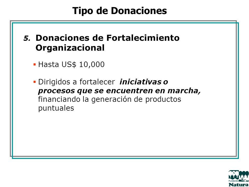 5. Donaciones de Fortalecimiento Organizacional Hasta US$ 10,000 Dirigidos a fortalecer iniciativas o procesos que se encuentren en marcha, financiand